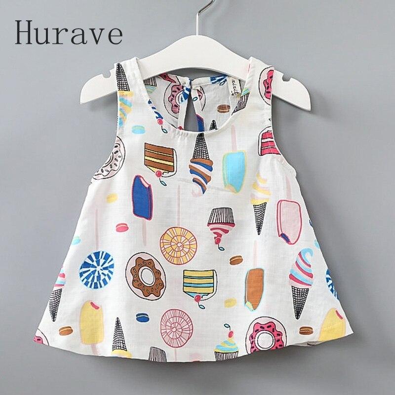 Hurave 2017 Girls Baby Dresses Ice cream Printed Kids
