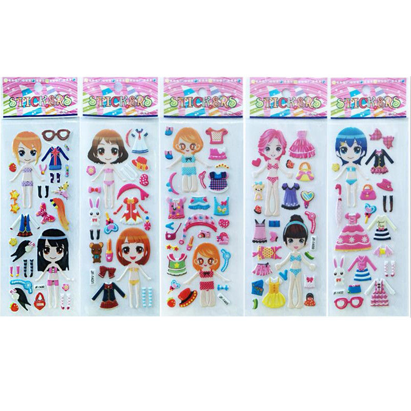 3D Stickers Kids Toys Dress Up Cartoon Children Girls Dolls Letters Number Fruit Vegetable Smile Heart Stickers Bubble Stickers