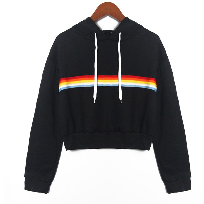 222a5fee144 2018 Womens Long Sleeve Rainbow Patchwork Sweatshirt Casual Hooded ...