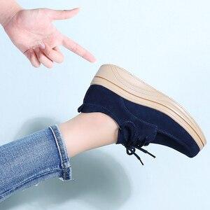 Image 5 - 2019 봄 여성 플랫폼 스 니 커 즈 신발 가죽 스웨이드 숙 녀 레이스 chaussure femme creepers moccasins 플랫 신발 여성 3929