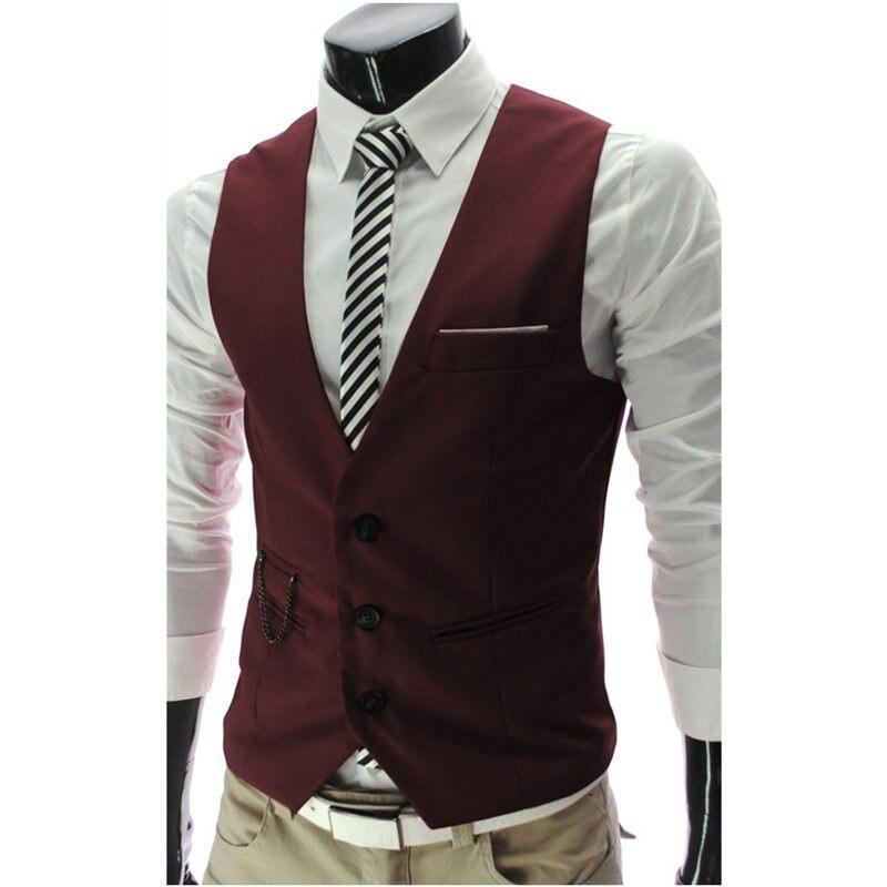 Жилет костюм мужской Костюм хлопковый жилет для мужчин короткое пальто в формальном стиле свадебное серое Повседневное платье белый блейзер черный красный бизнес - Цвет: Красный