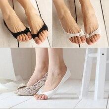 3 Pairs Fashion Open Toe Boat Socks Short Cotton Breathable Summer Women Socks Invisible No Show Non-slip Socks Low Cut Socks