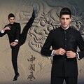 2017 Venda Quente Venda Freeshipping Regular Plana Moda Masculina Gola Ternos Business Casual Vestido de Terno Chinês Dragão Magro