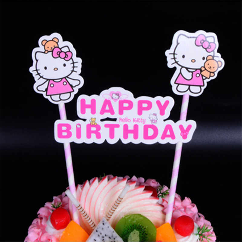 Cat Cupcake Toppers 21st Birthday Decorations Cake Flags Kids Children Girl Party Decoration Hello Kitty