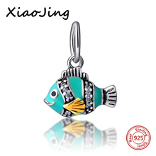 New Style 925-Sterling-Silver Blue Enamel Fish Pendants Charms Beads Fit Authentic Pandora Bracelets Charms Beads Jewelry Gifts 2018 new 925 sterling silver red enamel bikini charms beads fit authentic pandora bracelet charms beads jewelry for women gifts