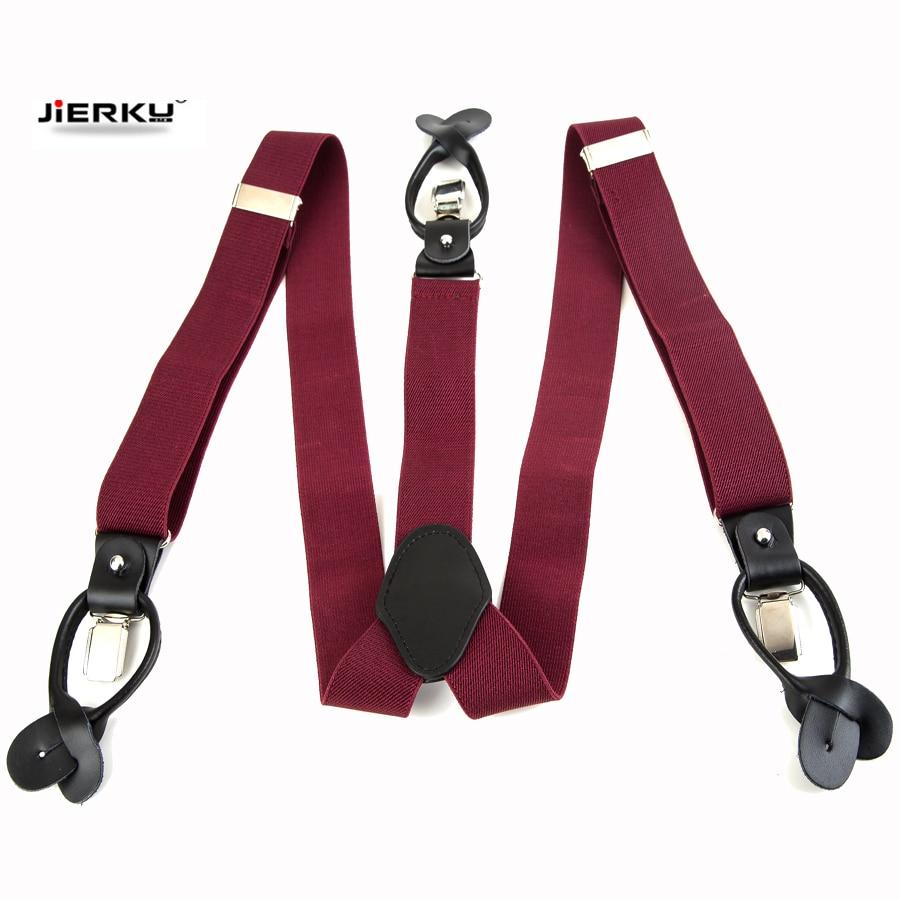 New Bretelles Genuine Leather Dual Suspenders Ligas Male Men's Button Suspenders Cowhide Spaghetti Strap Braces Tirantes 6 Color