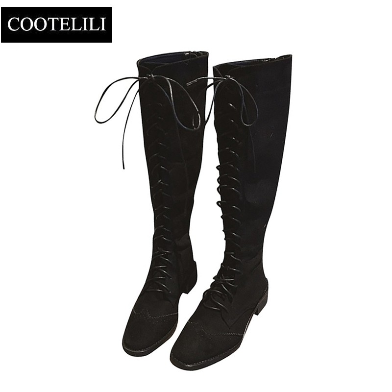 COOTELILI High-Boots Shoes Lace-Up Autumn Winter Fashion Ladies Knee Rubber for Women