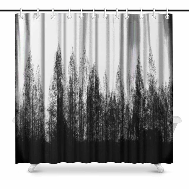 Black And White Pine Trees Row With Bright Sky Print Polyester Fabric Shower Curtain Bathroom Home