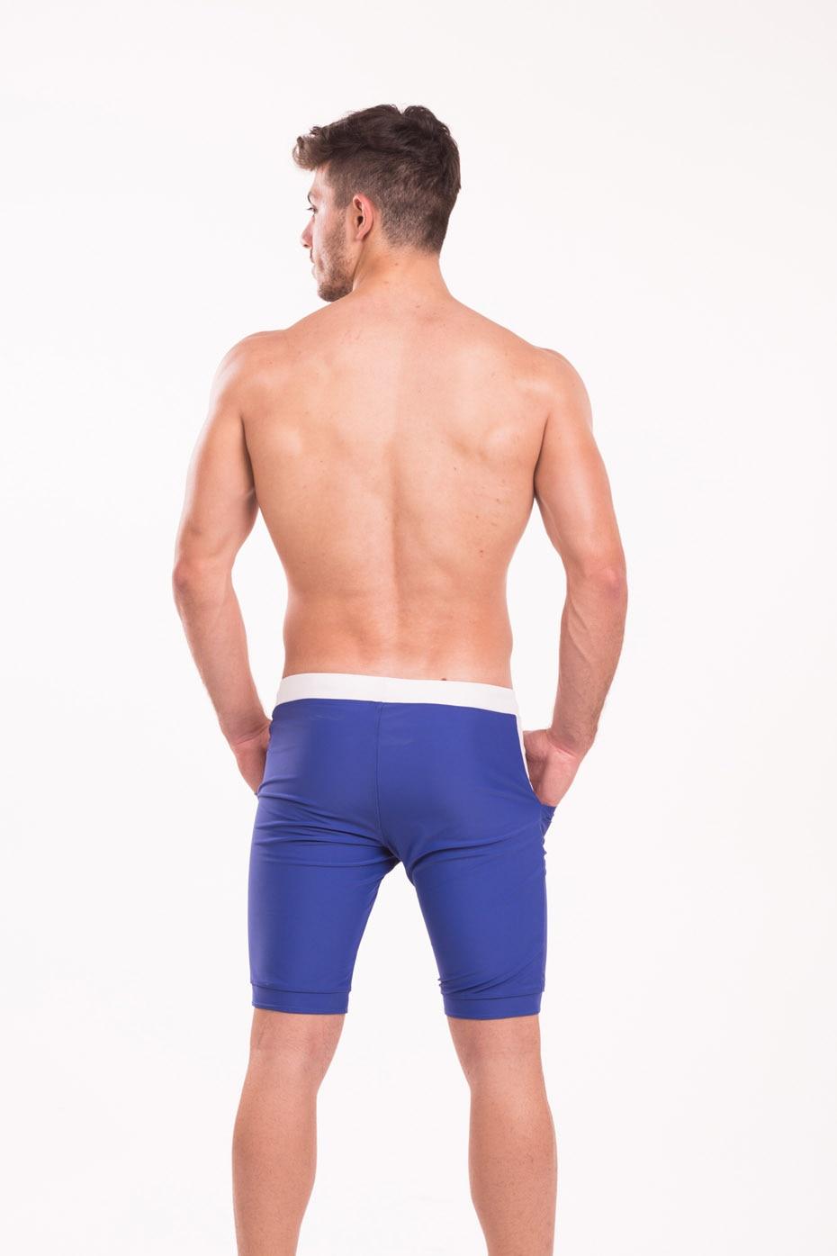 Taddlee Swimwear Men Swimsuits Long Basic Solid Blue Swim Boxer Brief Trunks