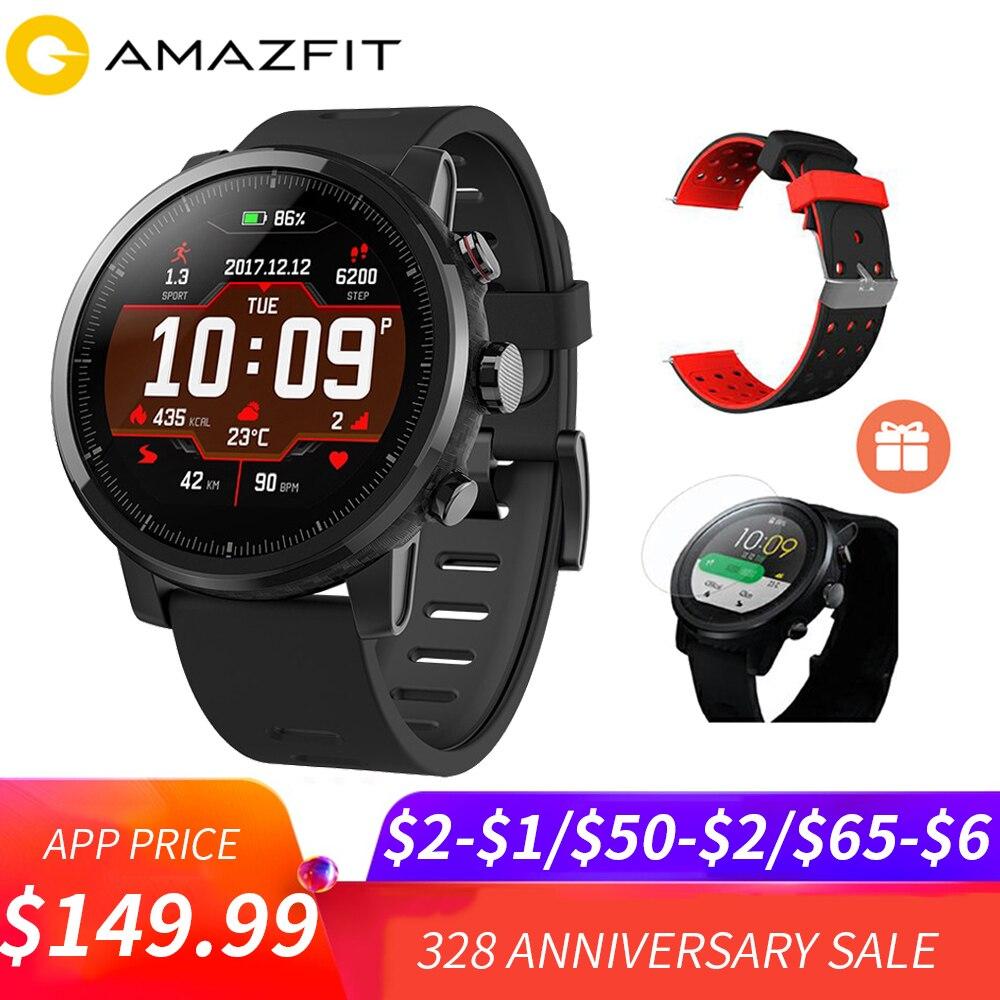 5 $ COUPON Huami Amazfit Stratos Smart Pace 2 montre de sport intelligente 5ATM étanche 1.34 ''2.5D écran GPS Xiaomi montres Smartwatch