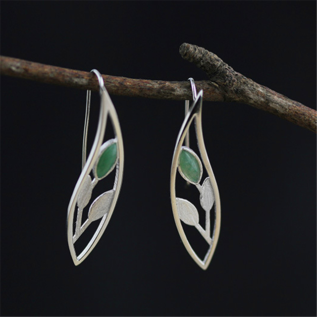 Genuine 925 Sterling Silver Earrings Handmade Ethnic Women Jewelry Very Unique And Elegant Leaves Design Natural Aventurine