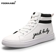 2016 New Fashion High Top Male Shoes For Men Pu Leather Lace Up White Black Pu Leather Mens Casual Shoes Men High Top Shoes