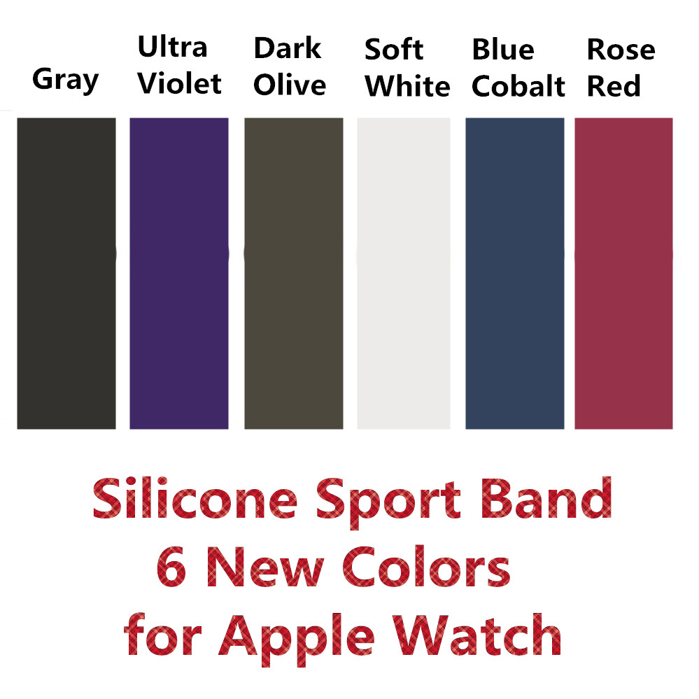 New Color Soft Silicone Replacement Sport Band For 38mm Apple Watch Series3 42mm Wrist Bracelet Strap For iWatch Sports Edition