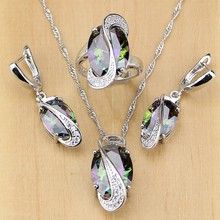 Natural Mystic Rainbow Cubic Zirconia 925 Sterling Silver Jewelry Set For Women Wedding Earrings/Pendant/Necklace/Rings T001(China)
