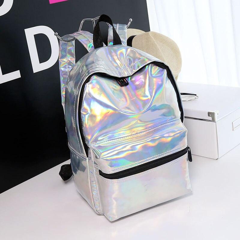 Donne zaino zaini sacchetto di scuola della ragazza femminile semplice argento ologramma laser borse in pelle olografica sac a main