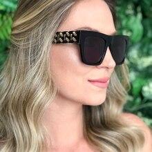 Black sunglasses woman oversized Square designer brand big lens Sunglasses For women metal frame female glasses Pink UV400 цены