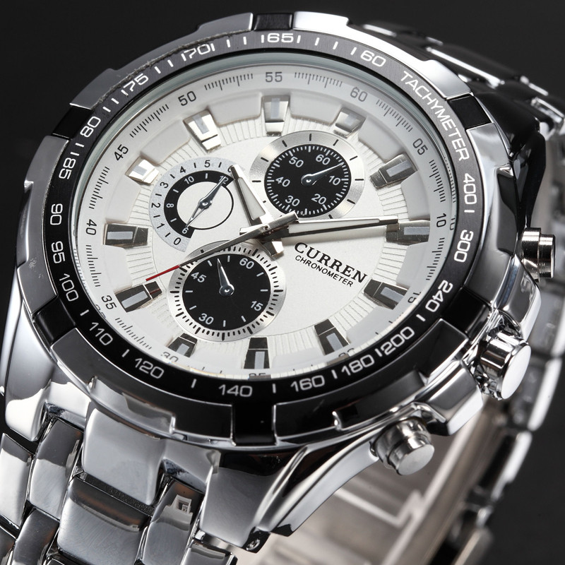 Curren Military Sport Mens Watches Top Brand Luxury Stainless Steel Quartz Men Watch Fashion Casual Male Clock Relogio Masculino mens watch top luxury brand fashion hollow clock male casual sport wristwatch men pirate skull style quartz watch reloj homber