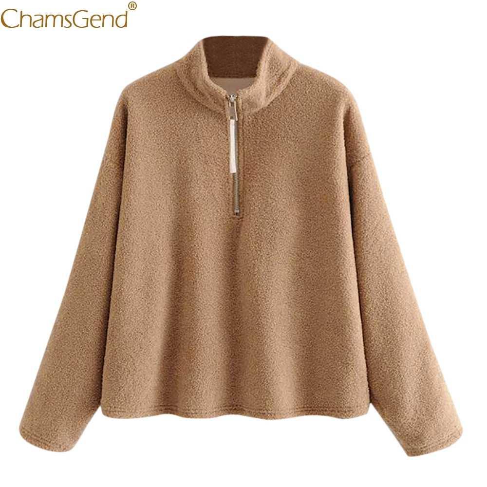Хит 2018, осенне-зимний женский свитер, высокая эластичная женская теплая рубашка из искусственной шерсти, Зимняя Блузка-парка цвета хаки на молнии, Nov1
