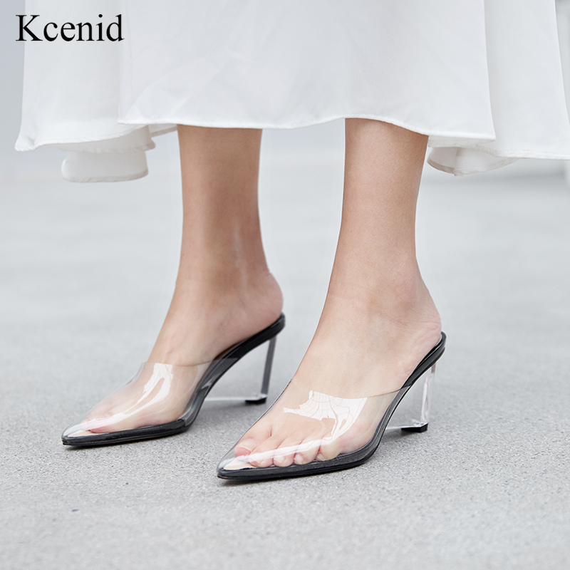 Kcenid Women pumps sandals clear crystal transparent wedge heel pumps fashion summer pointed toe party ladies