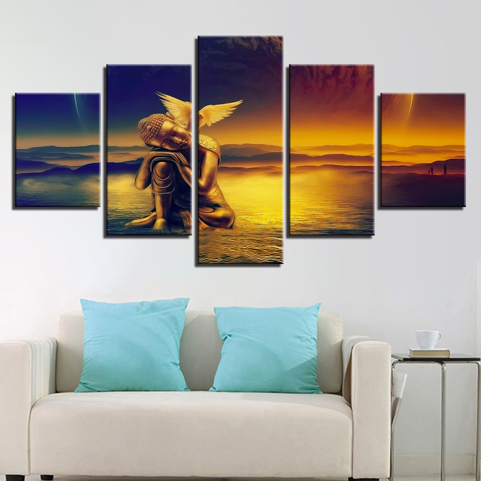 High Quanlity Canvas Painting Popular Picture Modern Framework For Living Room 5 Panel Buddha HD Printed Wedding Decoration