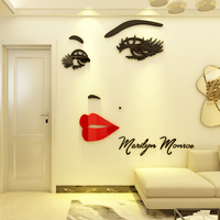 Monroe Creative acrylic 3d self adhesive wall stickers Living room background wall sticker Bedroom wall decoration painting
