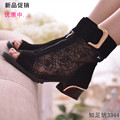 2017 fashion women's spring and summer shoes open toe sandals lace net boots thick heel sandals gauze  size35-39