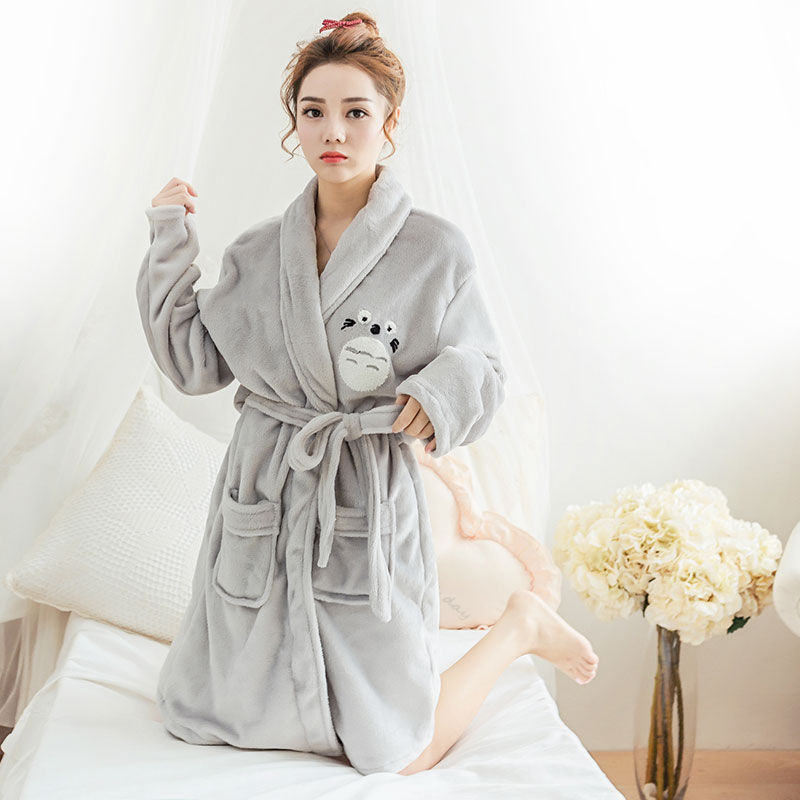 Detail Feedback Questions about Winter New Women s Long Sleeve Flannel Robe  Suit Thick Coral Fleece Pajamas Cartoon Cute Female Lacing Velvet Warm  Pyjamas ... fa8076566