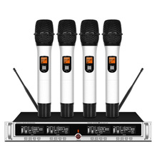 лучшая цена Professional UHF wireless microphone four-channel lavalier handheld conference microphone