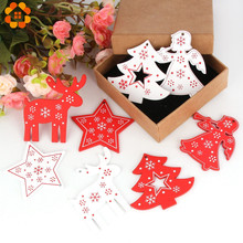 8PCS White&Red Wooden Christmas Ornaments Pendants  Wood Crafts Hanging Xmas Tree Ornament Kids Gift Party Decorations