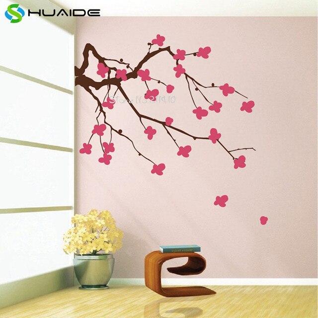 kirschblten zweig wandtattoo benutzerdefinierte farbe vinyl wandaufkleber wohnkultur wohnzimmer ecke groen baum wand tattoo a597 - Wandtattoo Wohnzimmer Baum
