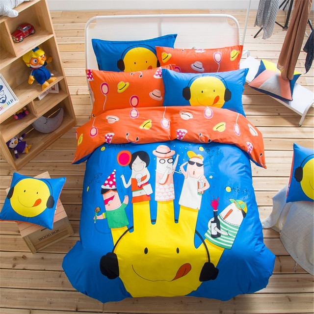nuevo diseo azul y orange dedos de dibujos animados juegos de cama nios dormitorio decoracin textil
