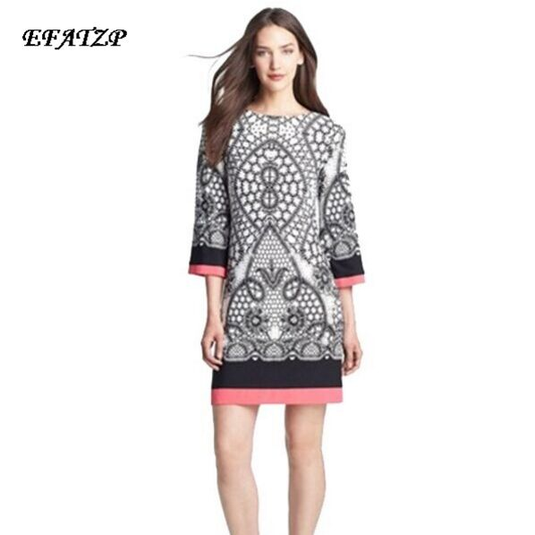 NEW Spandex Dress Women s Colorful Abstract Geometric Print Slash Collar Three Quarter Sleeve Loose Plus