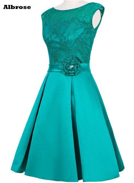 Elegant Turquoise Prom Dresses 2017 Lace Cap Sleeve Short Prom Dress ...