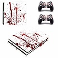 Removable Decal Red Ink PS4 Pro Skin Sticker For Sony Playstation 4 PRO Console protection film and 2Pcs Controller Skins
