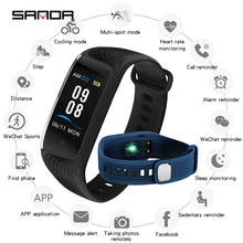 SANDA S4 Women Couple Smart Heart Rate Monitor Digital Wristwatches Pedometer Fitness Tracker IP68 Waterproof Business Clock