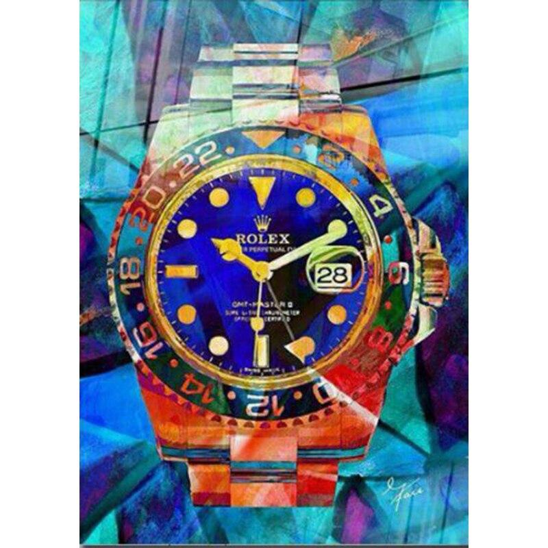 Fait à la main Artiste Conçu Rolex montre Abstrait Pop Art couleur Peinture À L'huile Sur Toile art de Graffiti