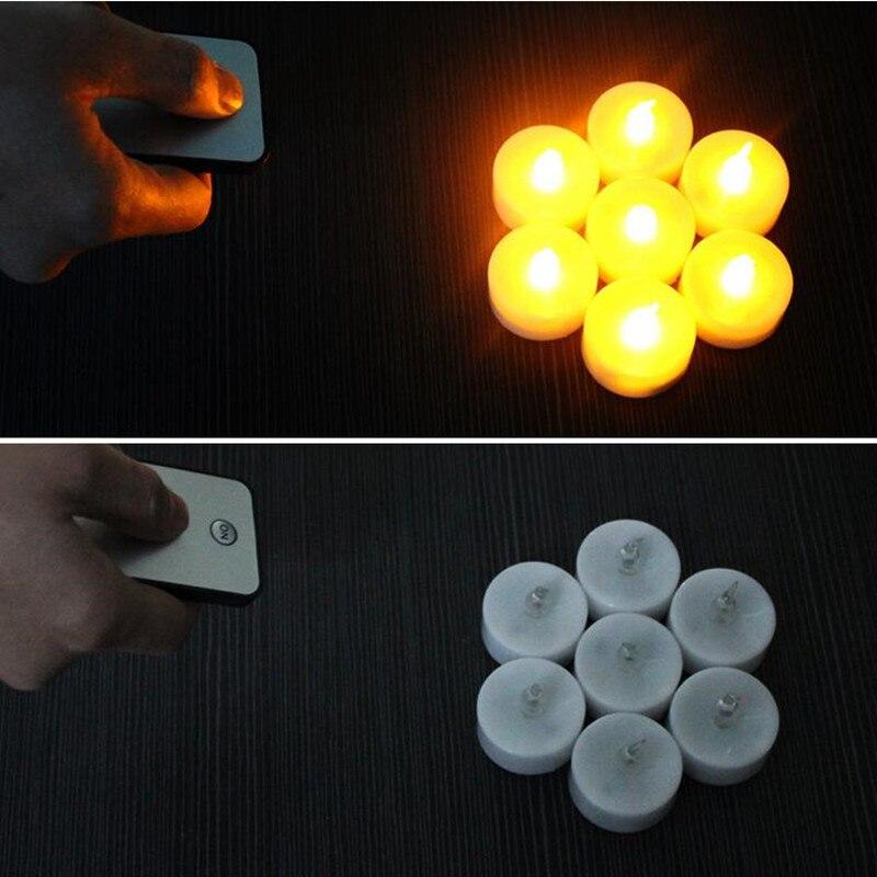 50x parpadeo inalámbrico romántico LED vela té luz con Control remoto para decoración de boda de Navidad-in Velas from Hogar y Mascotas    1