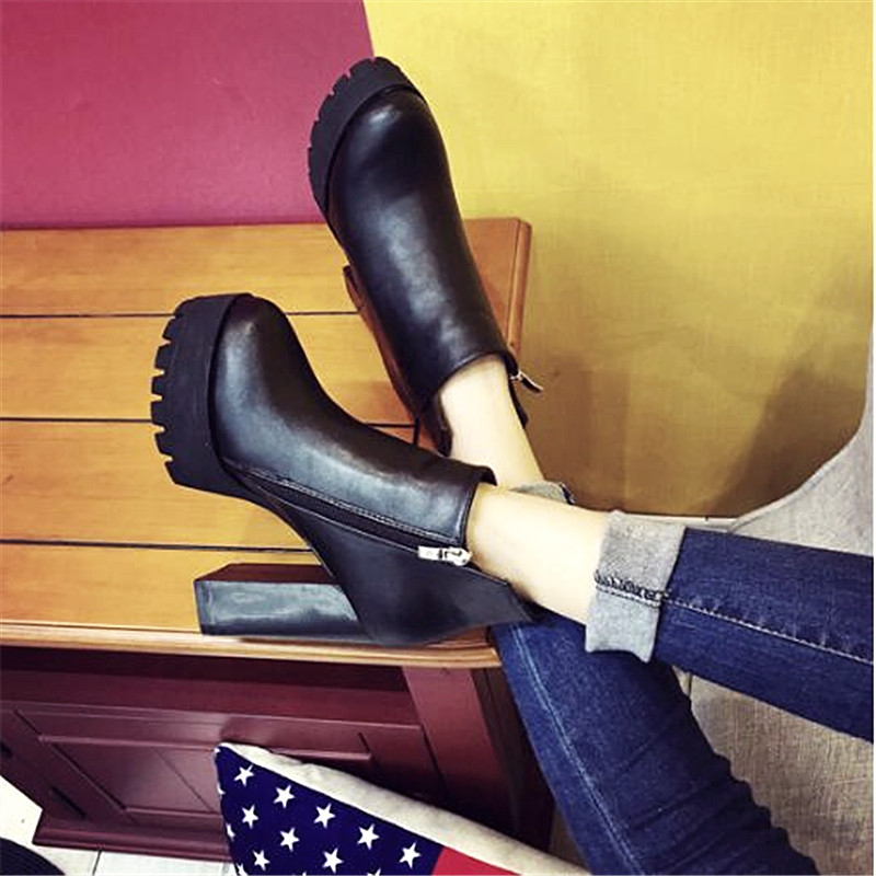 ФОТО 2017 Autumn Winter High Heel Leather Boots Women Square Heel Platform Pumps Martin Boots Fashion Zip High Heel Shoes B81125