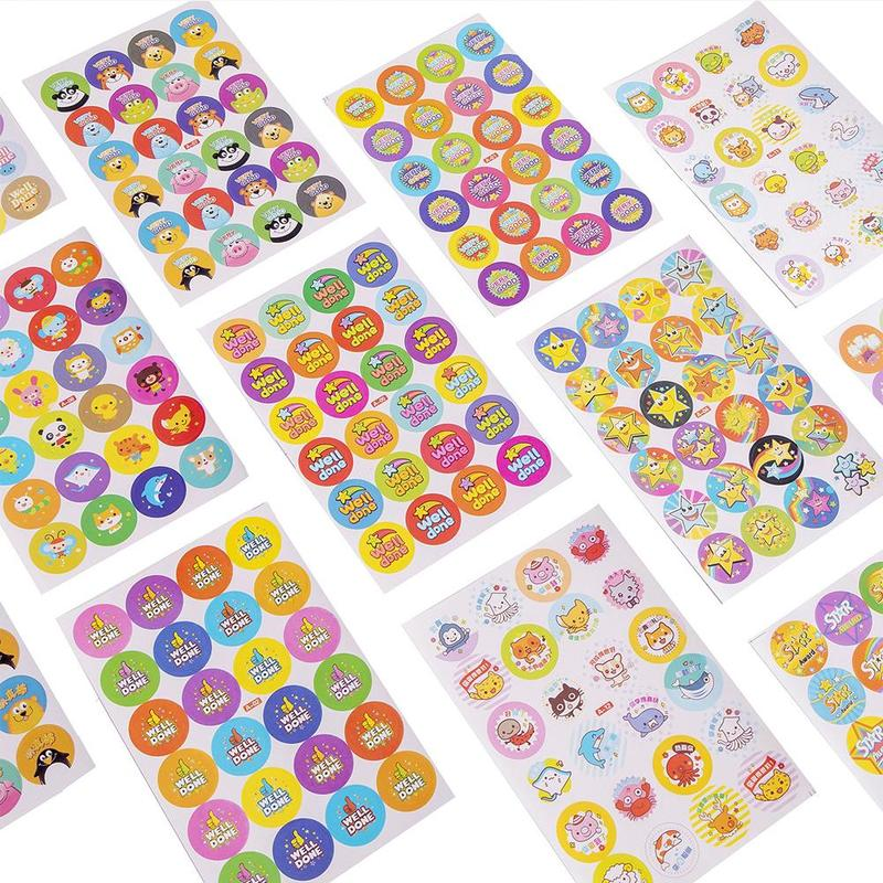 10pcs/pack Cartoon Bubble Stickers Child Reward Flash Sticker Mother Teacher Praise Label Award Stickers Toys For Children