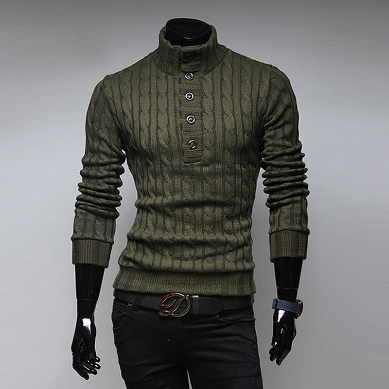 New Fashion New Product Thick High Collar Mens Sweater Solid Color Self-cultivation Bottoming Lapel Knit Sweater Sweater Male Pullovers Men's Clothing