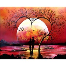Sunset lovers diamond Embroidery diy painting mosaic diamant 3d cross stitch pictures H497