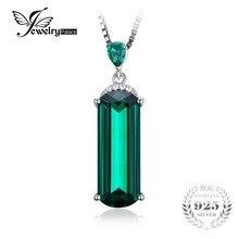 Jewelrypalace fancy cut 4.4ct verde creado nano ruso emerald sólido plata esterlina 925 para mujeres joyas de piedras preciosas