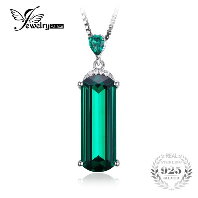 JewelryPalace Fancy Cut 4.4ct Created Green Russian Nano Emerald Solid 925 Sterling Silver Pendant For Women Gemstone Jewelry