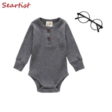 Seartist Newborn Rompers Bebes Plain Gray Black Jumpsuit Baby Boys Girls Body Suit Boy Clothes 2019 New 25C