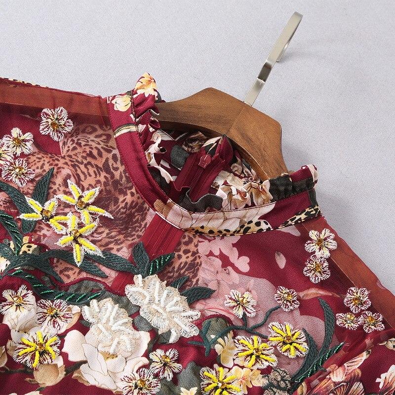 Stampa Nero Il 2019 Del Di Lusso Lunghe Progettista Ricamo Dress Vestito Moda A Primavera Delle Donne Qyfcioufu Maniche borgogna Animale Pista Della Midi Dell'annata IpwBx4qB1
