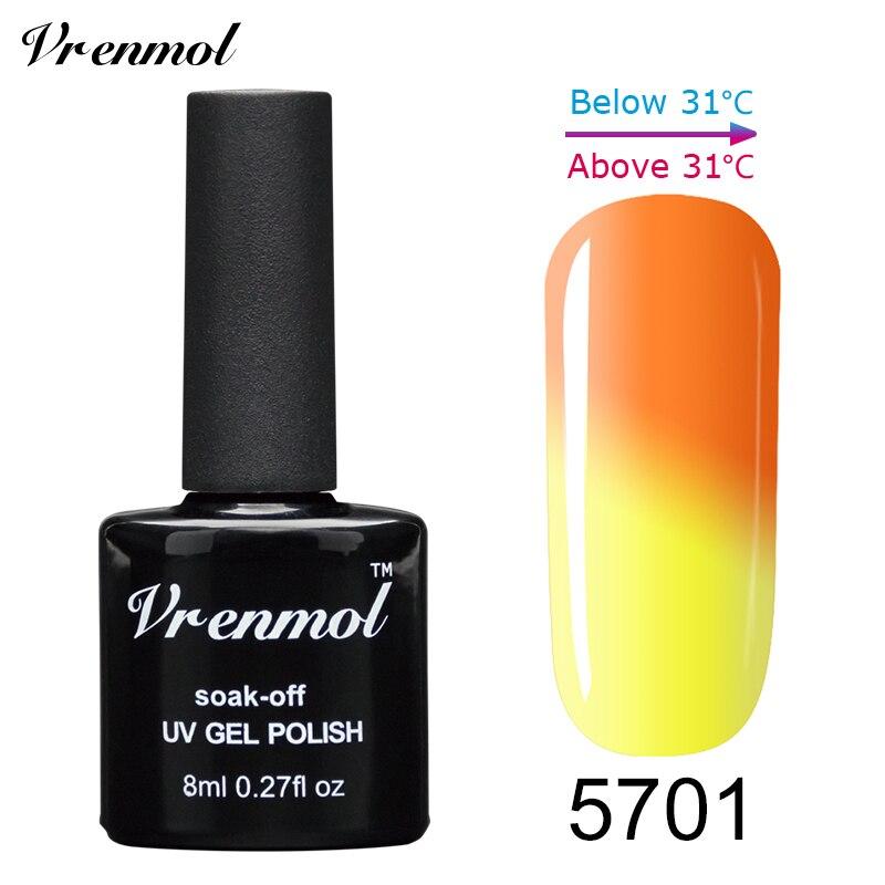 Vrenmol, 1 шт., меняющий цвет, замачиваемый УФ-гель, цвета, лак Verniz, Термальный, меняющий настроение, Гель-лак для ногтей - Цвет: 5701