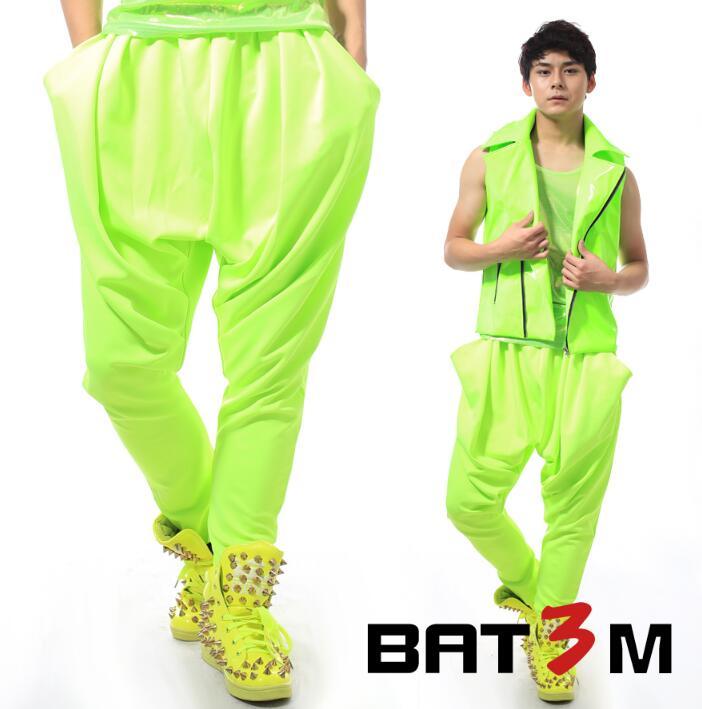 Personnalité de scène hommes pantalon sarouel hommes pieds pantalon chanteur danse rock mode pantalon homme neon série vert nouveauté