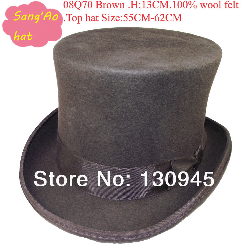 9050ddde7c7 wholesale perfect Round Top hats for ladies and men for wedding or dance  100%wool felt size 55cm 62cm white lining and sweatband-in Fedoras from  Apparel ...