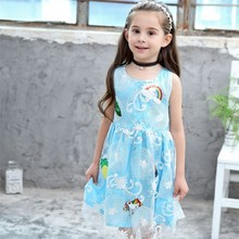 Unicorn Baby Girls Princess Dress Summer New Fashion Cartoon Appliqued Wedding Sleeveless Sweat for Lace