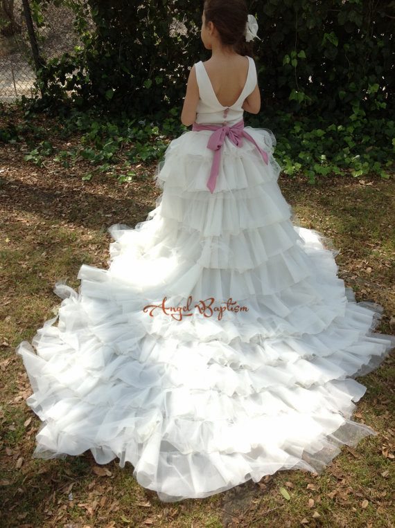 Vintage Long Train Tiered Floral First Communion Flower Girl dress Kid toddler backless Evening Prom Gown party occasion frocks long backless criss cross prom party dress